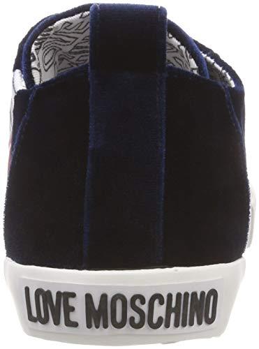 Mujer Velluto Azul Zapatillas Moschino Love gomma30 Para 75a Scarpad blu xtOnYS