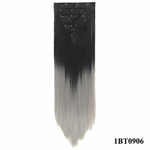 PrettyWit Clip in on Hair Extensions Full Head Ombre Straigh