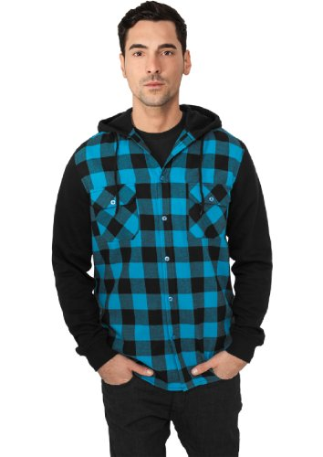 "Urban Classics ""Hooded Checked Flanell Sweat Sleeve Shirt"", Größe: XL, Farbe: black-turquoise-black"
