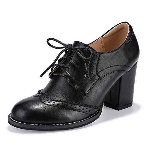 IDIFU Women's Cassie Classic Round Toe Low Top High Block Heels Lace up Brogues Oxfords Pumps Shoes (Black Pu, 11 M ()