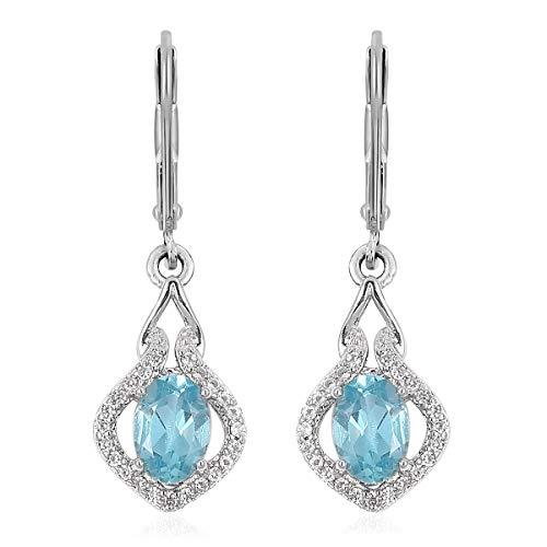 925 Sterling Silver Oval Apatite, White Zircon, Fashion Dangle Earrings For Women Cttw (Apatite Oval Earrings)