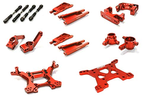 Integy RC Model Hop-ups C26516RED Billet Machined Stage 1 Suspension Kit for Traxxas 1/10 Slash 4X4 LCG ()