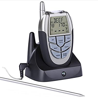 Termómetro Digital de Cocina YOKKAO, Termómetro Inalámbrico con Mando a Distancia Control Remoto, Temporizador y Alarma con Pantalla LCD para Carne, ...