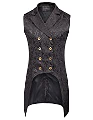 Mens Double Breasted Vest Waistcoat Gothic Steampunk VictorianFEATURES: Sleeveless Lapel collar Double-breasted Irregular high-low hem Center back split design at the base of hemline Polyester liningBrief Introduction of PJ Menswear: These pr...