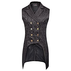 Paul Jones Mens Gothic Steampunk Double Breasted Vest Brocade Waistcoat PJ0081