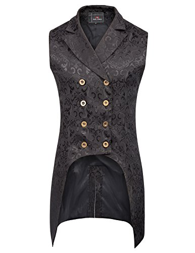 PJ PAUL JONES Mens Gothic Steampunk Vest Waistcoat Black Velvet Jacquard Tailcoat PJ0081-1 S Black ()