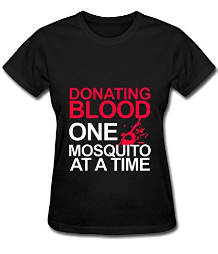 Iron Maiden Tool Women's Donating Blood One Mosquito at a Time casual T-shirt tee black]()