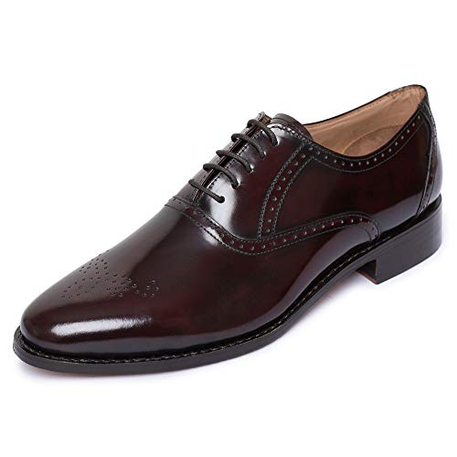 - Lethato Handmade Brogue Oxford Goodyear Welted Genuine Leather Lace up Dress Shoes- Burgundy-2