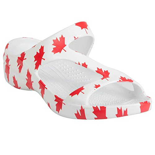 DAWGS Women's Z Sandal Flag Collection Canada, White/Red, - Collection Canada
