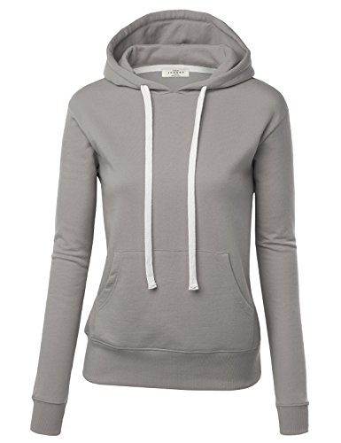 MBJ WSK192 Womens Active Fleece Long Sleeve Pullover Hoodie L GRAY