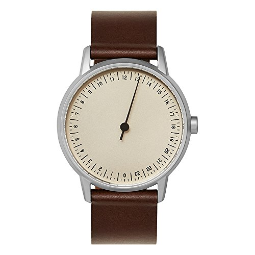 slow round 06 - Dark Brown Leather, Silver Case, Crème Dial