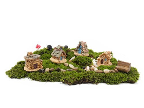 Ginsco 11pcs Fairy Garden Ancient World Diy Kit with Stone House Hedgehog Mushroom