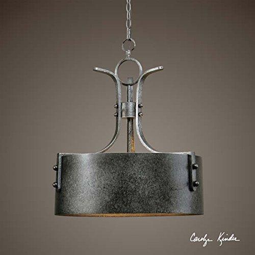 - Architectural 3 Light Metal Drum Pendant Chandelier Antiqued Silver & Rust