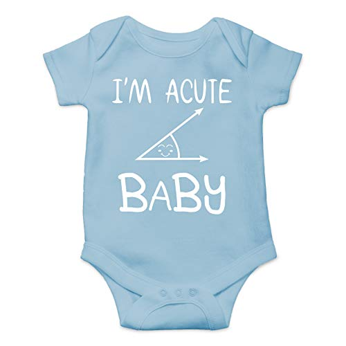 Acute Novelty Baby Romper - Geeky Math Humor - Funny Cute Novelty Infant Creeper, One-Piece Baby Bodysuit (Light Blue, 12 -