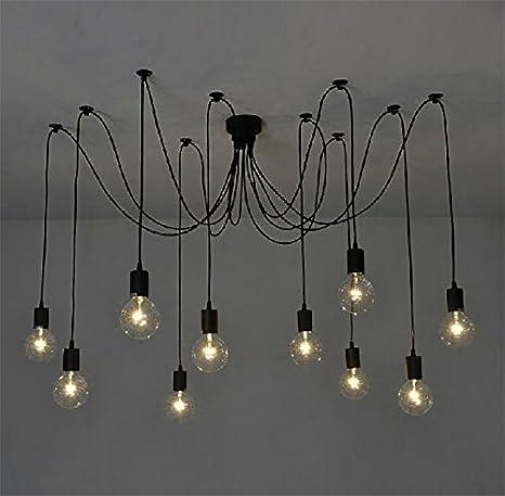 10 luces - Inicio Deco Vintage DIY Industrial accesorio de la lámpara colgante de luz Retro Lámpara de Techo de la lámpara de araña 6/8/10 luces (E27 ...