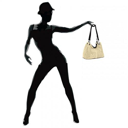 Classic Handbag beige TL621 Shoulder Suede Womens Leather CASPAR CASPAR Womens qBfZtRR
