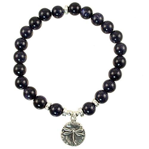 Dragonfly Silver Plated (8mm Blue Sandstone Beads with Silver-Plated Accents and Dragonfly Charm - Stretch Bracelet)