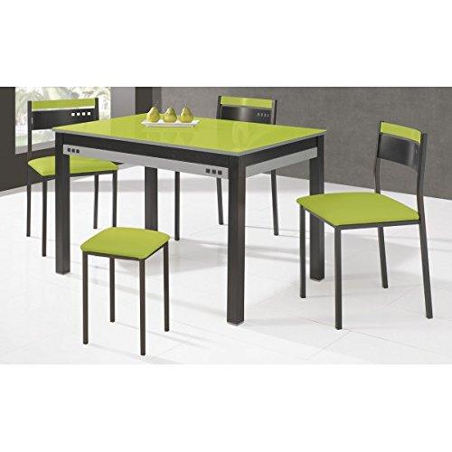 SHIITO Mesa de Cocina Extensible 100x60 cm con armazón en Negro y ...