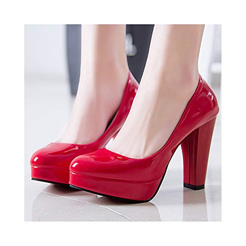 Women Pumps Shoes Pu Leather Shallow Slip-On Round Toe High Heels Wedding Party Derss Shoes Mujer Plus Size 34-42,Red,6