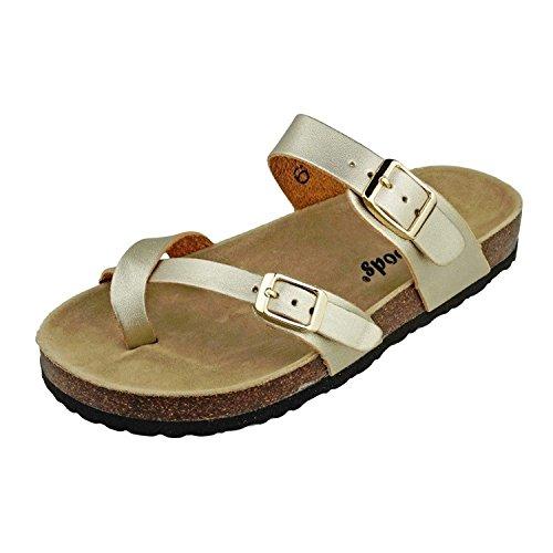 b75fdc9c9290 OUTWOODS Women s Bork-30 Vegan Leather Toe-Loop Buckle Flats Sandals