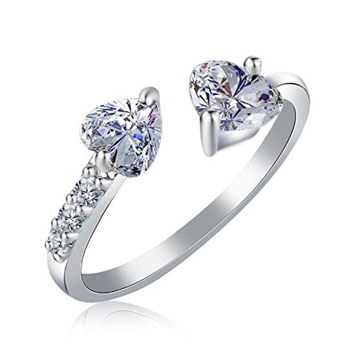 (TEMEGO Silver Plated 2 Heart Cut Tension set CZ Adjustable Ring for Women,Cubic Zirconia Open Ring)