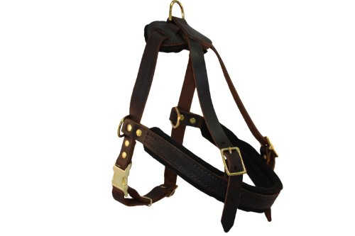 Leather Dog Harness, Large, Brown (Aspen), English Bridle Leather, For Breeds 80-120 lbs. Chest:33-40 in, Neck:28-36 in, Chest Strap: 27