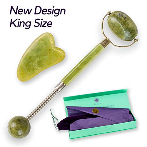 Jade Roller & Gua Sha - NEW Design Jade Roller For Face - Premium Face Roller For Eyes Neck & Boby - Anti Aging Face Massager Reduce Wrinkles, Puffiness, Fine Lines - King Size, Gift Box