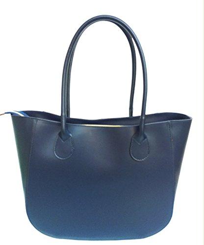 cuir en superflybags L à fabriqué sac Noir véritable modèle lisse à Bleu sac Italie en bandoulière Olga main Foncé Foncé B4qS8Bw