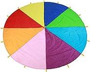 Multi-Color Rainbow Parachute Kids Play Parachute Toy, Children's Sport Team Building Parachute for Teamwo