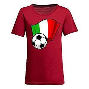 Custom Womens Cotton Short Sleeve Round Neck T-shirt with Flags,2014 Brazil FIFA World Cup Soccer Flags Red