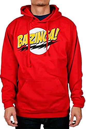 The Big Bang Theory No Face Bazinga! Men's Hoodie, Red XL