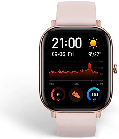 Amazfit GTS Fitness Smartwatch with Heart Rate Monitor, 14-Day Battery Life, Music Control, 1.65″ Display, Sleep and Swim Tracking, GPS, Water Resistant, Smart Notifications, Rose Pink 41HTmpIQG4L