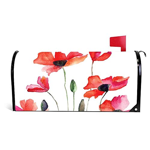 Yilooom Poppies Wildflowers Nature Meadow Mailbox Cover Magnetic Mail Box Wrap Yard Garden Decor 17.25 X 20.75 Inches