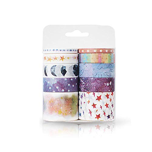 AOLVO Narrow Washi Tape, 10 Rolls Basic Washi Tape 5/10/15/30mm Slim Patterned Washi Tape for Boys Girls Arts and Crafts, Scrapbook, DIY, Gift Wrapping, Party Supplies