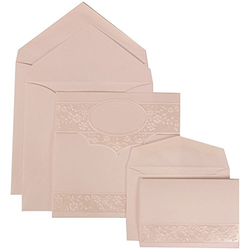 JAM Paper Wedding Invitation Combo Sets - 1 Small & 1 Large - White Card with White Envelope with Floral Embossed Oval - 150/pack by JAM Paper