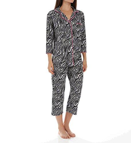 Anne Klein Rose 3/4 Sleeve Cropped PJ Set (8710421) L/Zebra