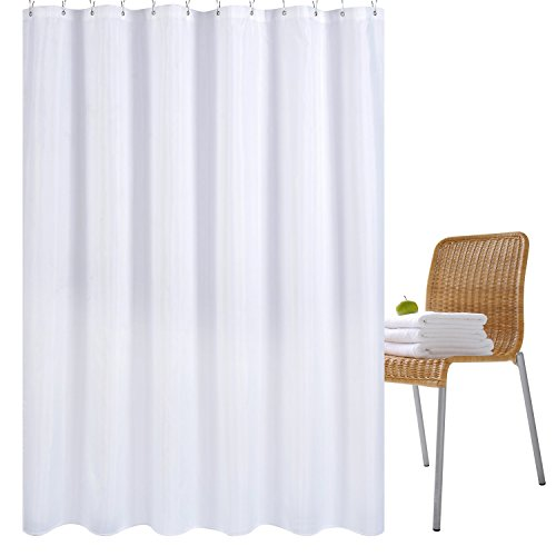 Wimaha Water-repellent Fabric Shower Curtain Liner Mildew-resistant Machine Washable Bathroom Shower Curtains Anti-bacterial Polyester Shower Liner for Shower Stall, Bathtubs, 72 x 72 White (Shower Stall Fabric Curtain Liner)