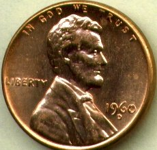 1960-D Large Date Lincoln Memorial Cent Brilliant Uncirculated ()
