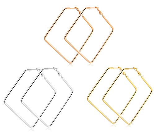 Jindorla Square Hoop Earrings, 3 Pairs 50mm Stainless Steel Dangle Drop Earrings in Gold Plated Rose Gold Plated Silver Black Colors for Women Girls (3 Colors Square 50mm)