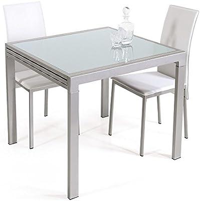 Trendy Italia - Mesa extensible de metal plata y cristal blanco ...