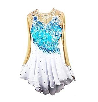 Figure Skating Dress Womens Girls Ice Skating Dress Long Sleeves Performance Skating Wear High Elasticity Spandex Chinlon Skirt Dress