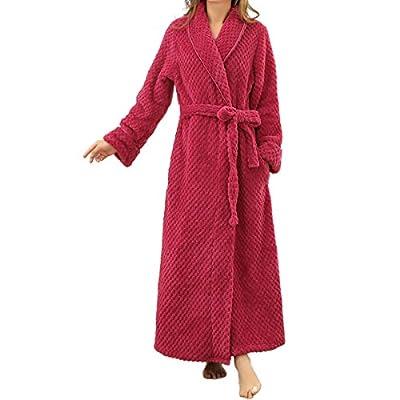 Cityelf Women's Waist Slim Flannel Velvet Over-long Chunky Home Robe Sleepwear