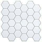White Anti-Mold  Peel and Stick Tile Backsplash -Marble Hexagon Tile for Kitchen Bathroom,Faux Ceramic Tile Design(4 Tiles)