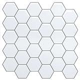 White Anti-MoldPeel and Stick Tile Backsplash for Kitchen-Marble Hexagon Tile Backsplash Peel and Stick Stickers (4 Sheets)