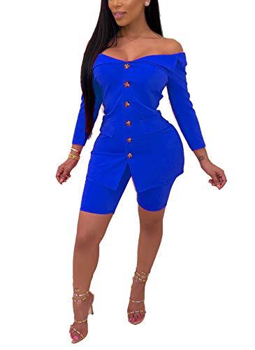 Women Two Piece Shorts Set Casual Long Sleeve Off Shoulder Blazer Jacket Skinny Shorts Romper Clubwear Blue Large