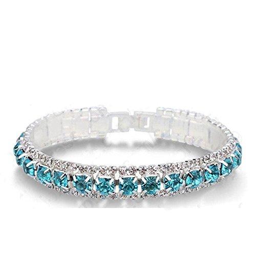 Nongkhai shop Elegant Jewelry Sparkling Rhinestone Cubic Zircon Bracelet Women Wedding Party (Bracelet Diamonds Sparkling)