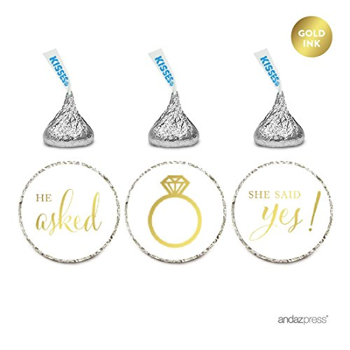 Andaz Press Chocolate Drop Labels Stickers, Wedding He Asked She Said Yes!, Metallic Gold Ink, 216-Pack, for Bridal Shower Engagement Hershey's Kisses Party Favors Decor