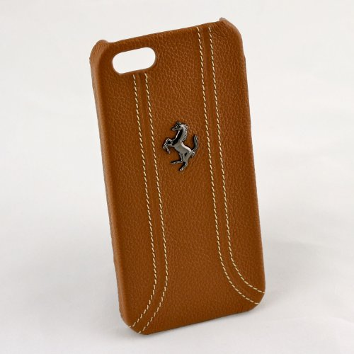 Ferrari iPhone 5 / 5S Brown Leather & Stitching Case CG Mobile New FEFFHCP5KA