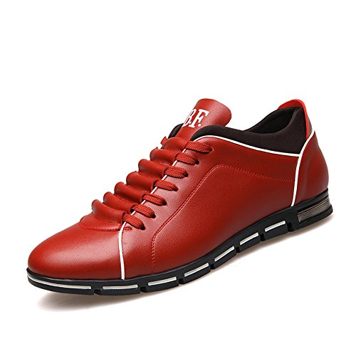 Top Sneakers Low Red up Men's Casual Leather Lace XiaoYouYu wxfpqXx