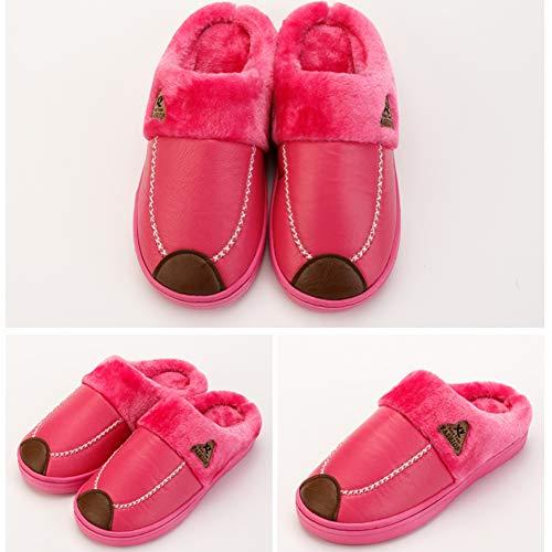 Rose Imperméable Non Coton slip Demi paquet Rouge À Chaussures Épaissir 43 Pure La Pantoufles Yangyongli Maison Couleur Couple Fluff 42 XHE0q